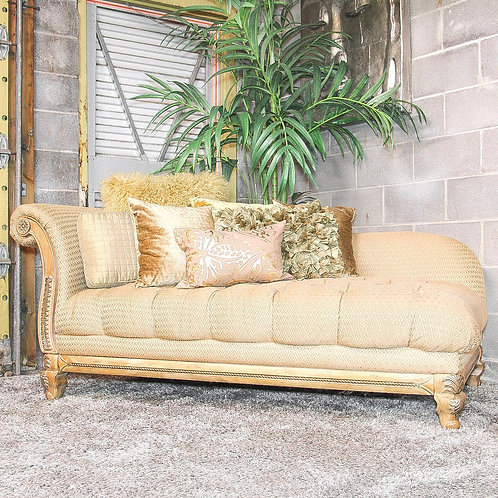 Gold Designed Tufted Chaise Lounger