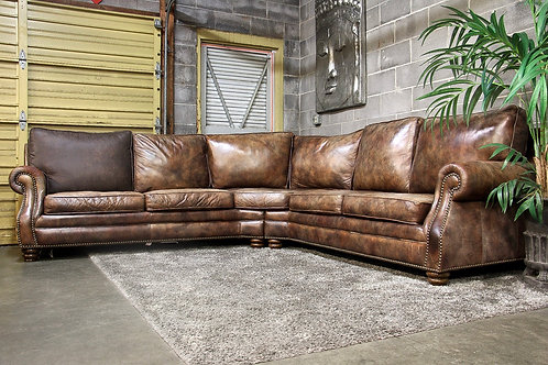Henredon Genuine Leather 2PC Studded Curved Sectional Sofa