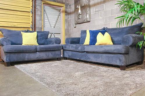 2PC Blue Sofa Set