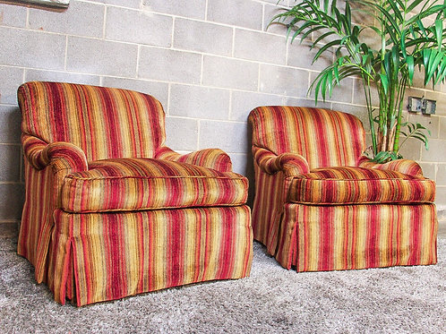 Set of 2 Striped Accent Chairs