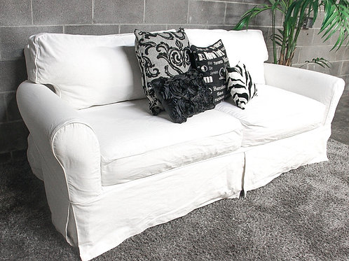 Cindy Crawford White Slipcover Sofa