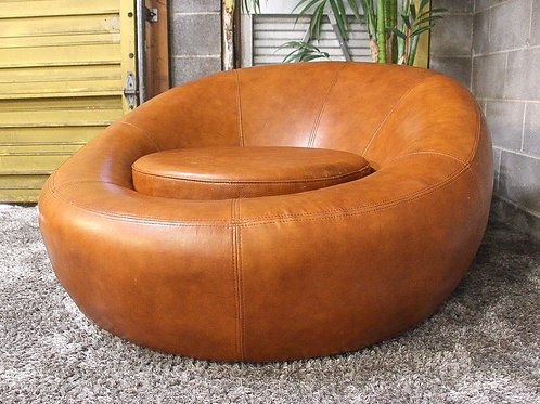 Round Leather Accent Chair