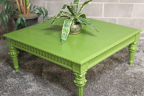 Decorative Green Wood Coffee Table and Plant