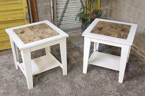 Set of 2 White Farmhouse Side Tables