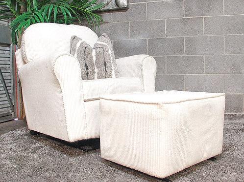 White Glider Chair and Ottoman Set
