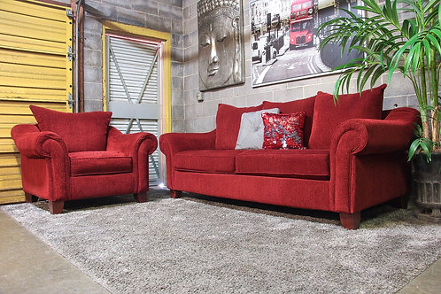 2PC Red Sofa and Chair Set