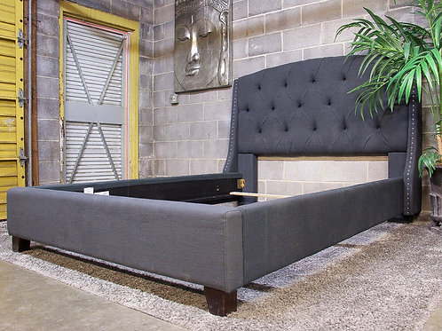 Ashley Furniture Gray Studded Tufted Queen Bed