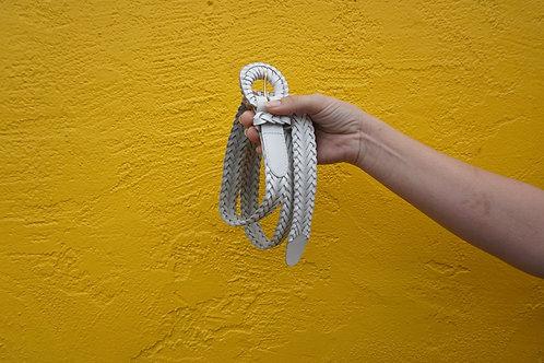 Vintage White Braided Belt