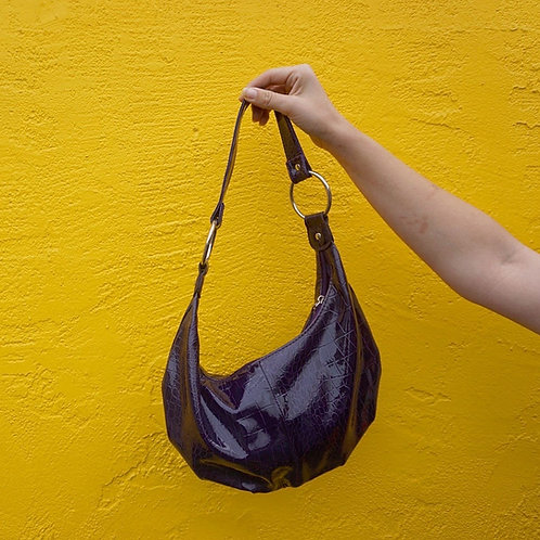 Purple Snakeskin Sack Purse