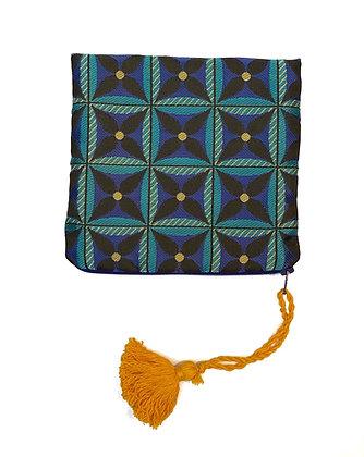 """Pochette de sac """"Étoile Bleue pompon jaune"""""""