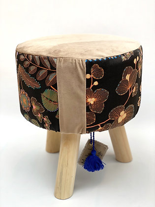"Stool ""Black forest of beige"""