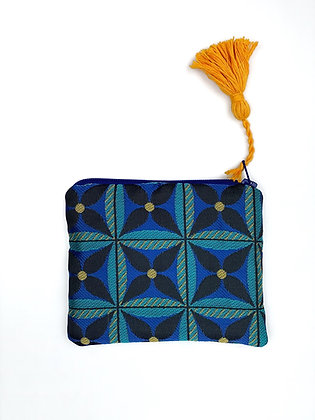"Coin purse ""Blue floral geometry"""