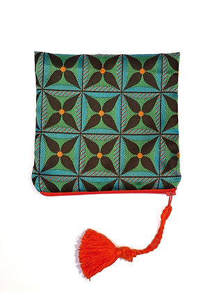 """Mini pouch """"Green floral geometry"""""""