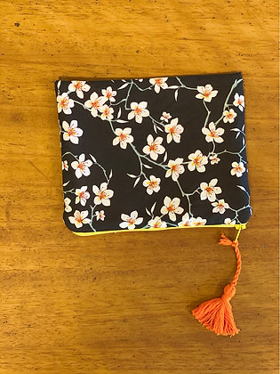 "Bag pouch ""Almond blossoms on black"""
