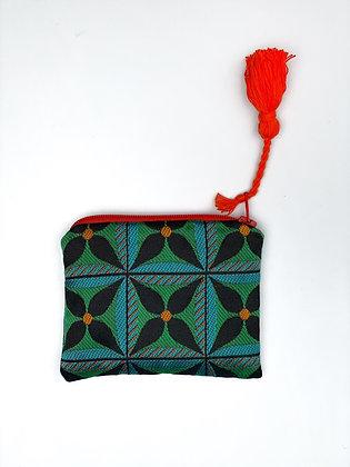 "Mini coin purse ""Green floral geometry"""