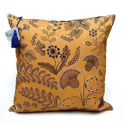 "Cushion ""Foliage on mustard at night"""