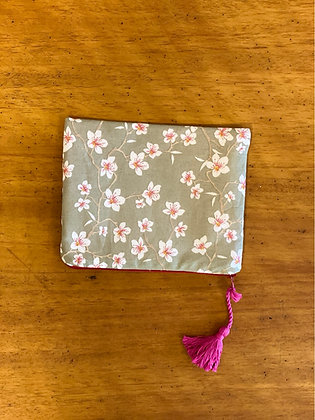 "Bag pouch ""Almond blossoms on gray"""