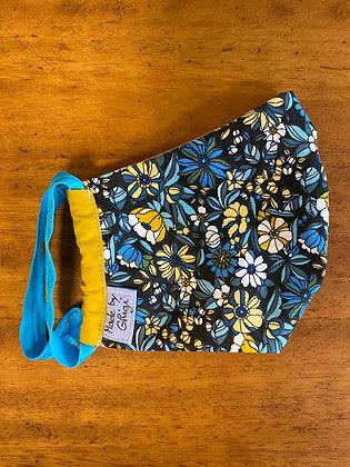 """Masque en tissu """"fleurs bleues moutardes"""""""