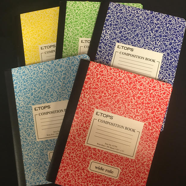 Composition Book Lined - Yellow / Green / Dark Blue / Light Blue / Red
