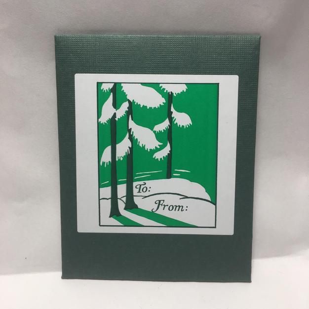 Green Trees & Snow Gift Tags - Saturn Press