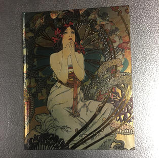 Mucha Dark-Haired Lady in White - Flame Tree Sketchbook