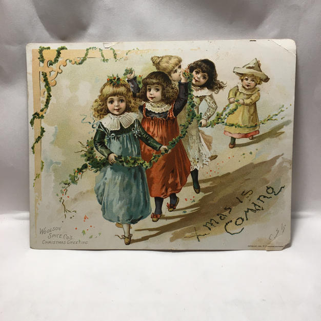 Xmas is Coming - Vintage Christmas Advert Postcard (front)