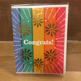 Rainbow Gold Burst Congrats - Graduation / Congratulations - Night Owl Paper Goods