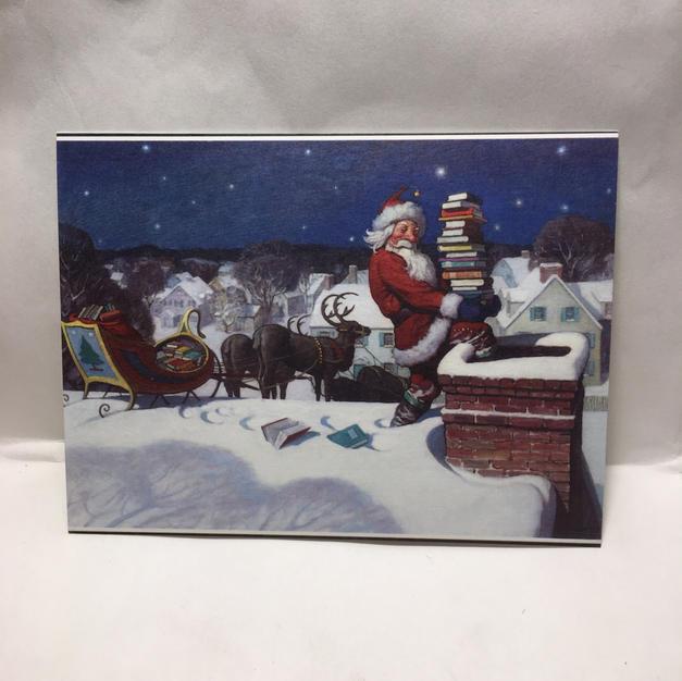 Santa Book Delivery - Christmas Postcard