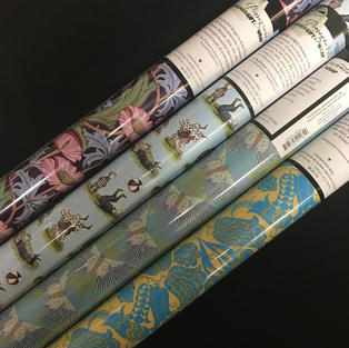 Pomegranate Gift Wrap Roll - Nouveau Floral / Gorey / Pastel Moths / Blue and Yellow