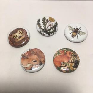Pin - Owl / Dandelion / Bee / Deer / Fox