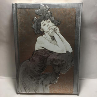 Mucha Silver & Bronze Lady - Lined Flame Tree Journal