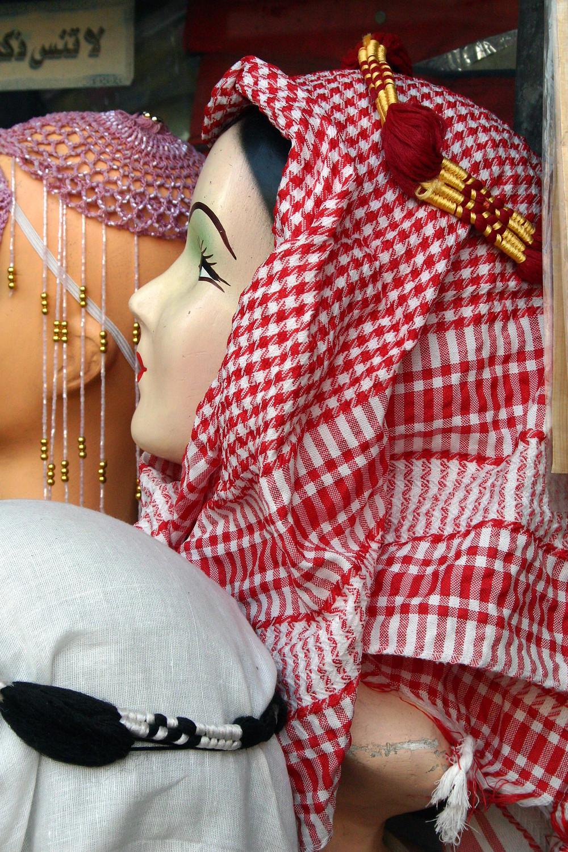 Kaffiyah te koop op de markt van Cairo, Egypte