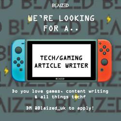 Tech/Games Writer job post