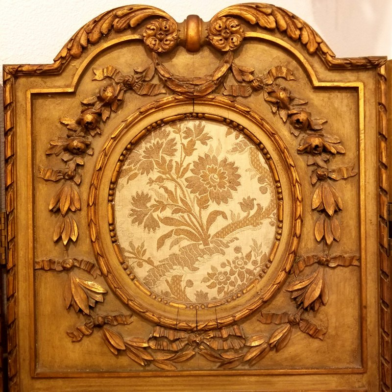French Gilt 1800's silk room screen
