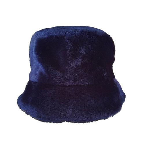 Navy Blue Faux Fur Bucket Hat