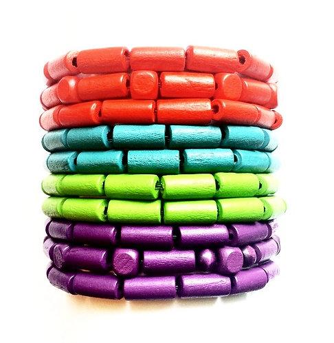 Multi Color Stackable Wooden Bracelet Set