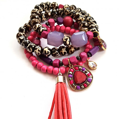 Fuchsia, Brown, and Pink Tassel Stackable Bracelet Set