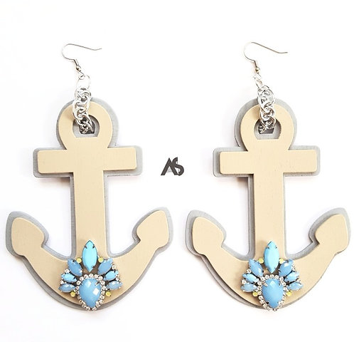 Oversized Wooden Anchor Earrings
