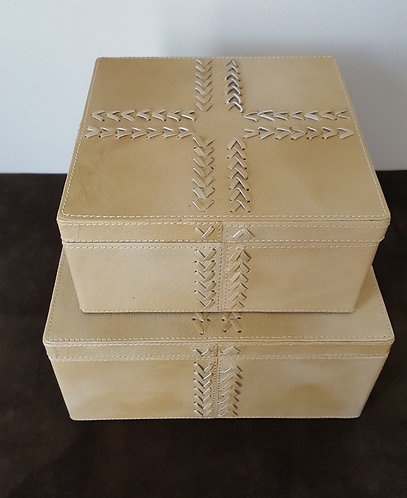 Tan Genuine Leather Storage Boxes - Set of 2