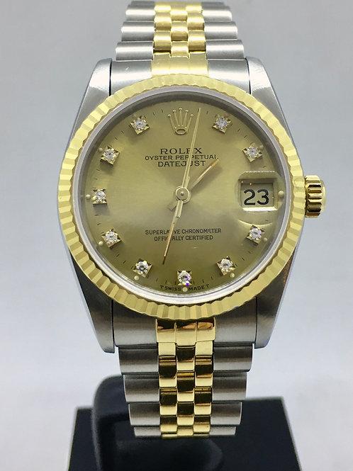 Datejust 31 Guld/stål m. diamanter