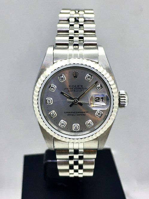 Datejust 26 mm stål m. Hvidguldskrans og diamanter