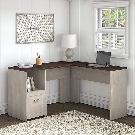 Bush Furniture Townhill 54 W L Shaped Desk in Washed Gray and Madison Cherry