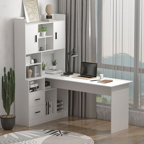 FOGUID Corner Desk with Hutch Shelves Drawers White