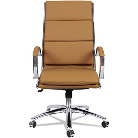 Alera ALE Neratoli High-Back Slim Profile Chair, Camel Soft Leather, Chrome Fram