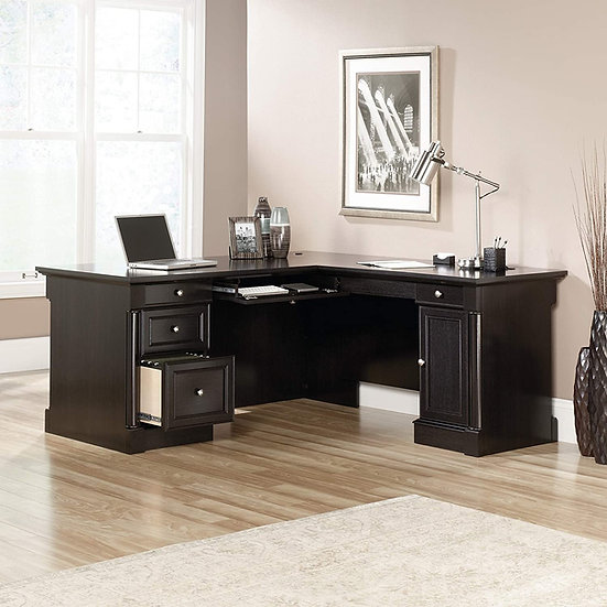 Sauder Palladia L-Shape Executive Desk- Wind Oak