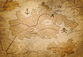 Treasurehunter3d treasure pirate map example finding gold in island DroneRover drone detector