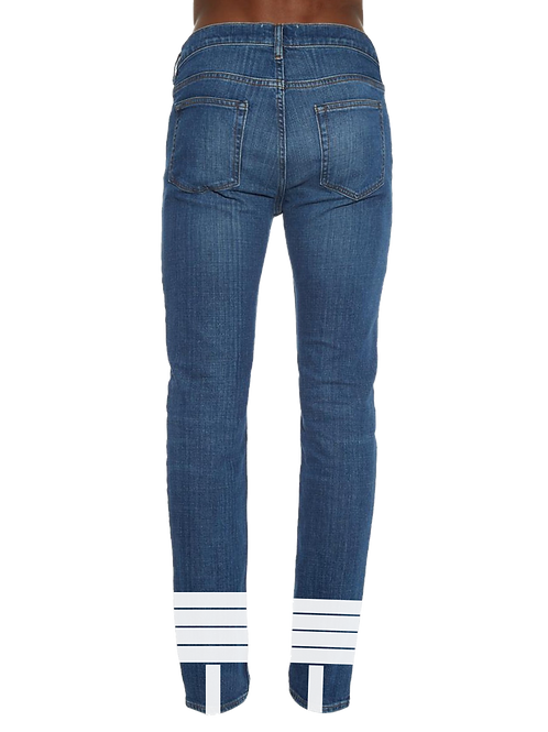 Washed Striped Jeans