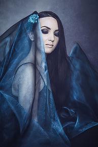 women in blue portrait photography