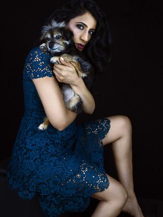 Pet photography with Ami and dog Kiri who is Yorkiepoo breed.