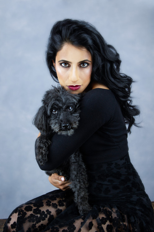 Pet photography with Ami and dog Tiger who is Poodle breed Vilija Skubute studio